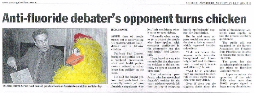 Anti-Fluoride Debater's Opponent Turns Chicken